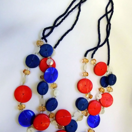 red,blue & white necklace