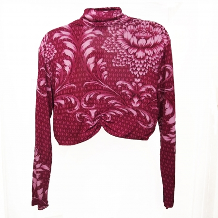 back of fuchsia abstract floral shrug