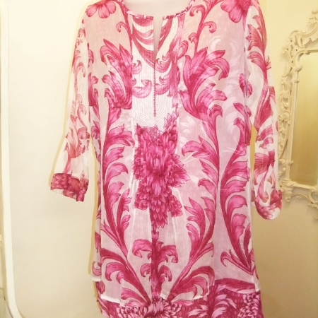 white & pink kaftan top