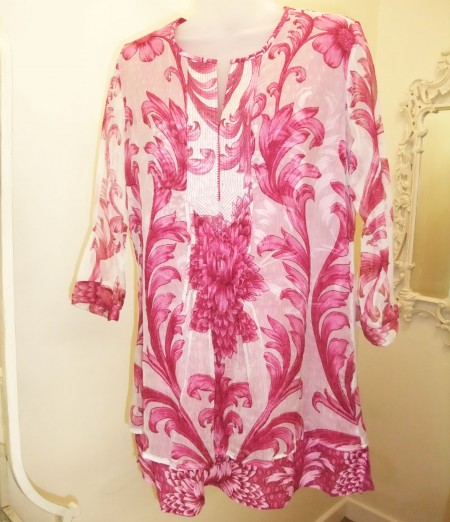 white & pink kaftan top