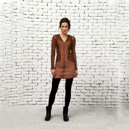 cognac zip detail dress
