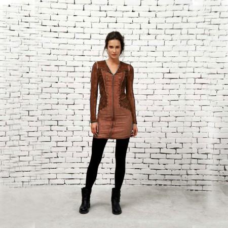 cognac zip detail dress