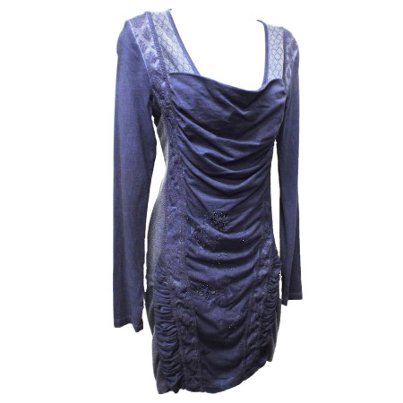 blue ruched front dress