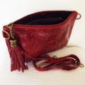 red leather clutch bag inside