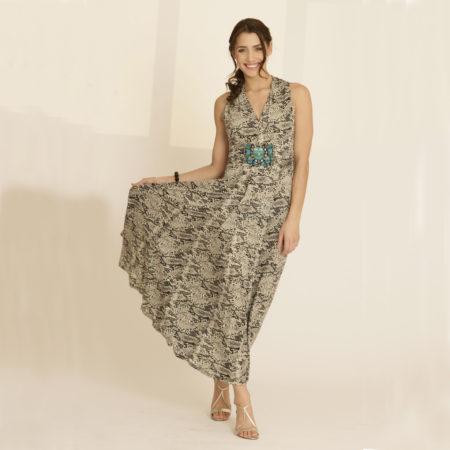 Snakeskin maxi dress
