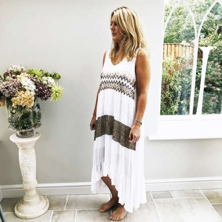 Aztec stripe white dress