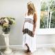 Aztec stripe white dress