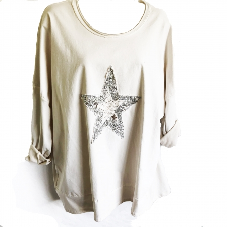 Beige star sweatshirt
