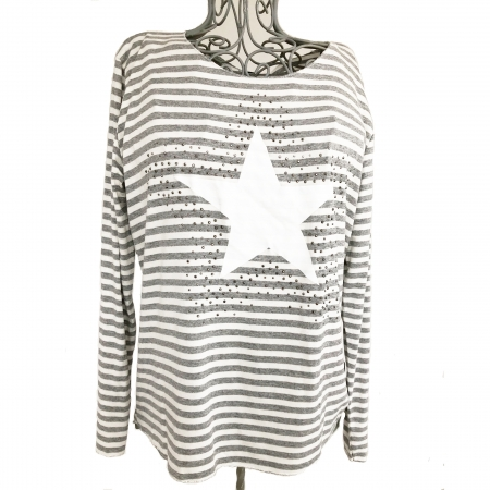 Grey striped star top