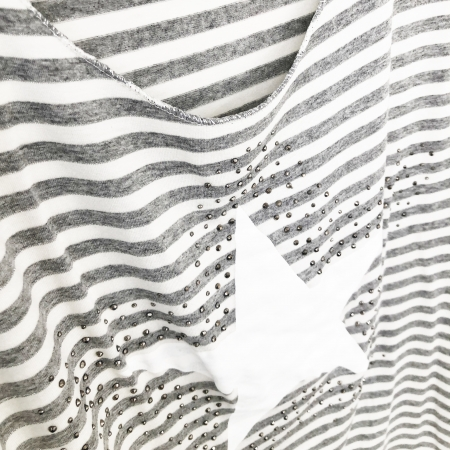 Grey striped star top (front)