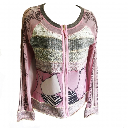 pale pink patchwork cardigan