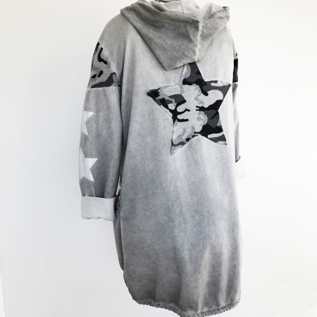 grey hooded star detail jacket