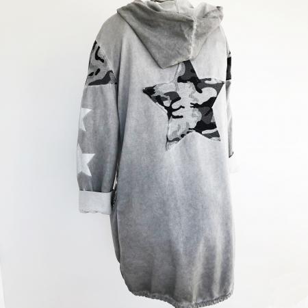 grey hooded star detail jacket