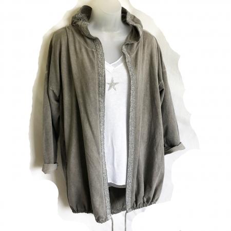 grey angel wings hooded jacket
