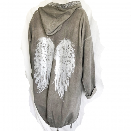 grey angel wing hooded jacket (back)