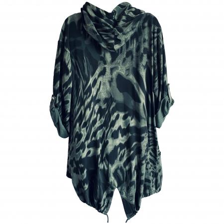 dark green tiger print hooded jacket (back)