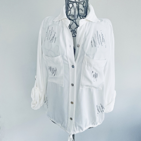 white sequin squiggle blouse