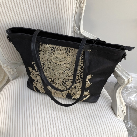 black bag gold embroidery