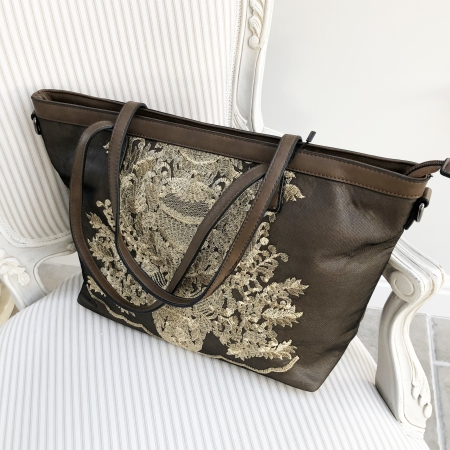 chocolate brown bag gold embroidery