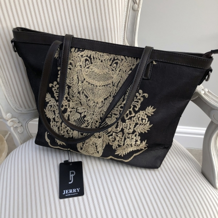 dark brown bag gold embroidery