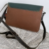 dark green and red leather satchel bag (back)