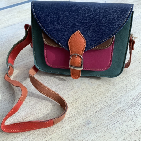multicolour leather satchel