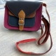 Navy pink and brown leather satchel