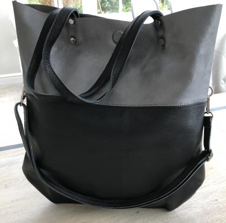 black and pewter leather handbag