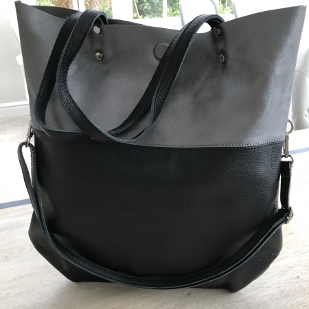 black and pewter leather handbag