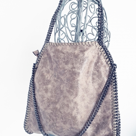 pinky-beige chain-edged handbag