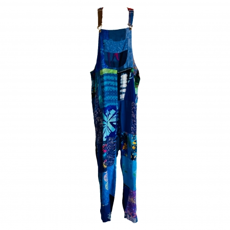 blue patchwork dungarees