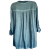 Blue shirt with sequinned fabric neckband and pocket (back)