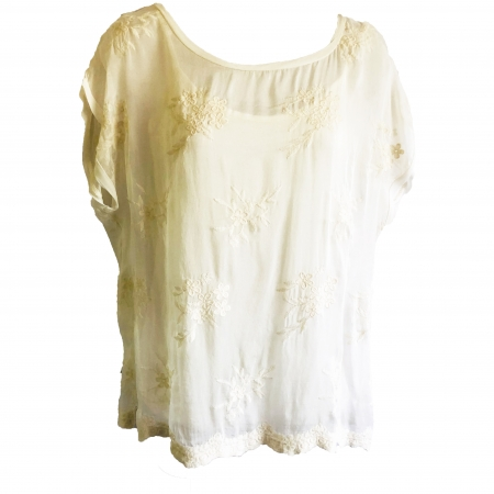 cream 30% silk embroidered top