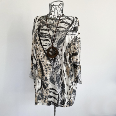 Cream, brown, grey feather print top