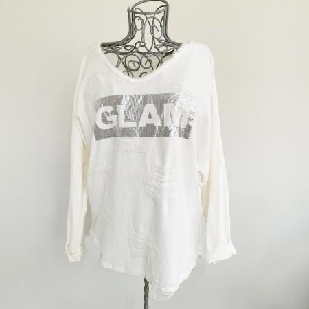 cream ripped top with silver panel