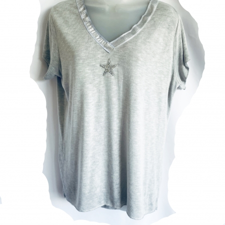 Dove grey silver star t-shirt