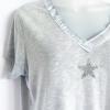 Dove grey silver star t-shirt (detail)