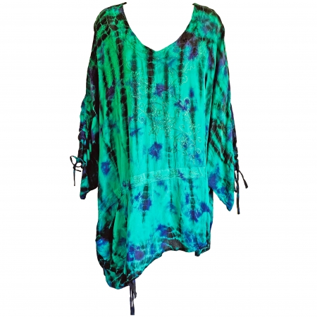 Green tie-dye kaftan top