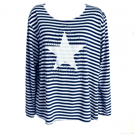 navy stripe star top