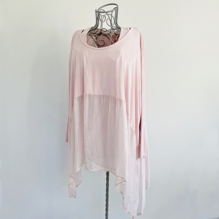 pink part silk double top