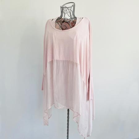 pink part silk double top