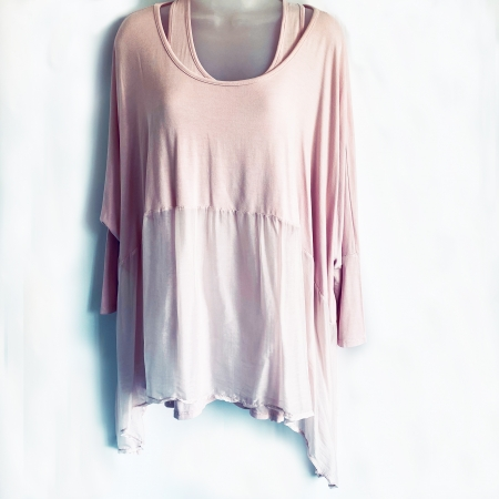 pink part silk double top (front)