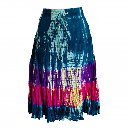 Tie-dye three colour gypsy skirt