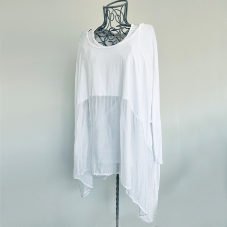 White part silk top