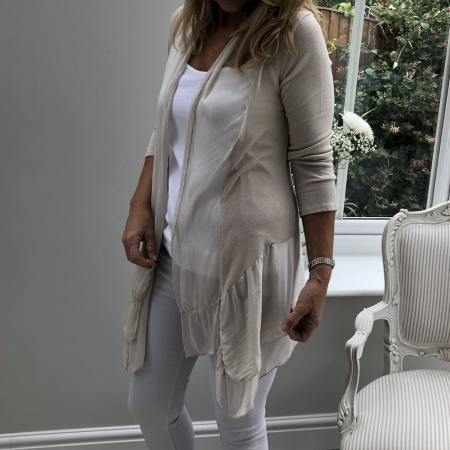 Cream fine cardigan double frill