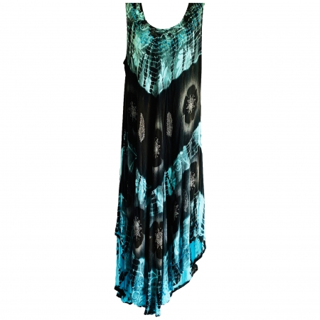 turquoise and black tie-dye dress
