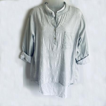 Aqua green and white double shirt