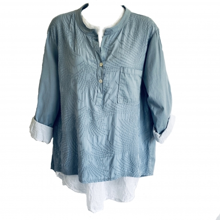 Blue and white double shirt