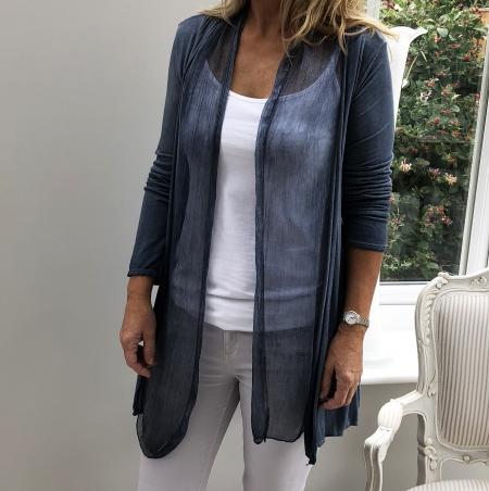 Denim blue fine cardigan with silk front