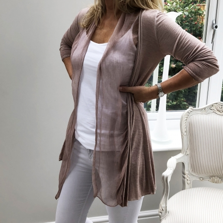 Dusty pink fine cardigan